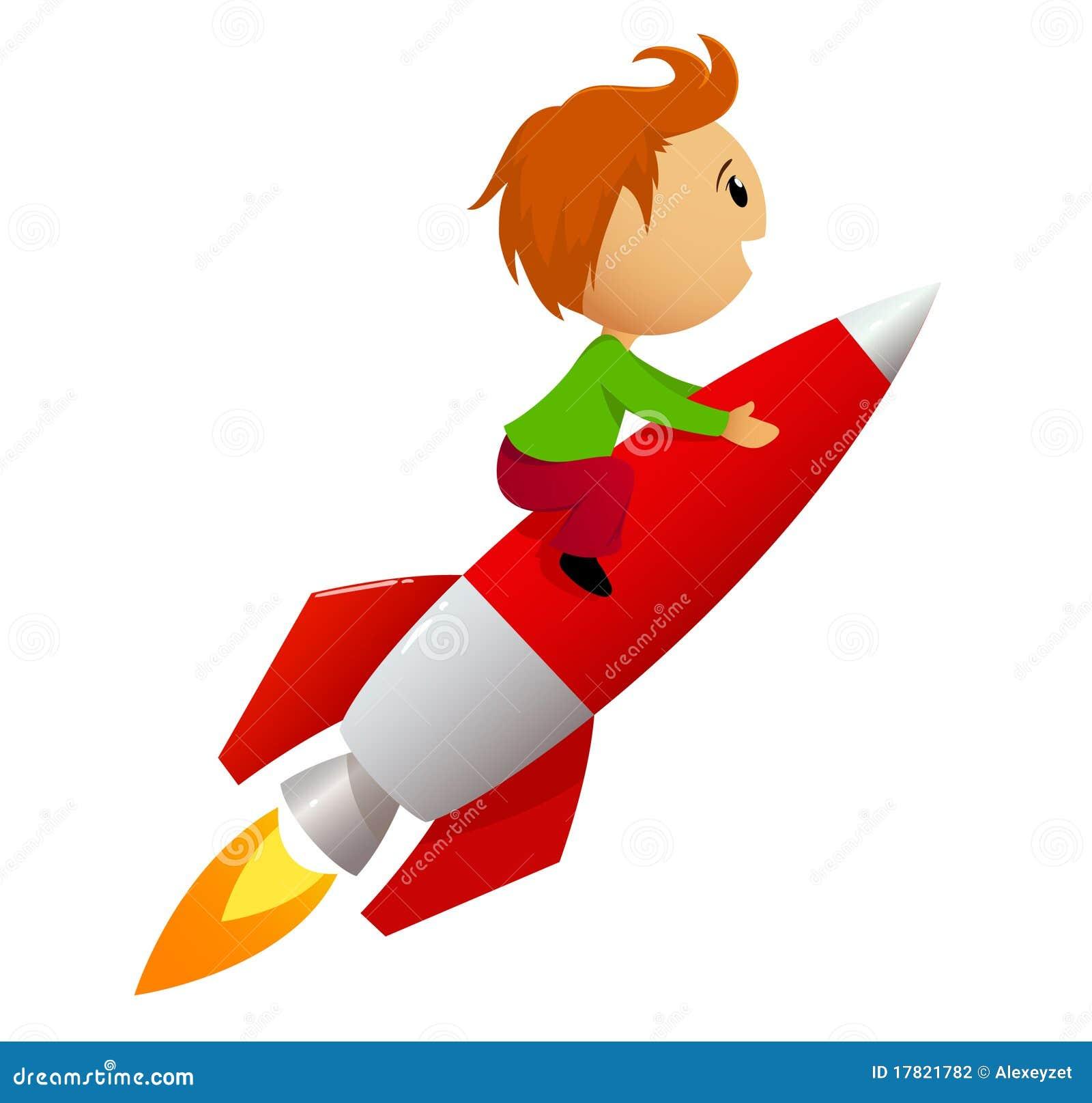 Jongen die rode raket berijdt