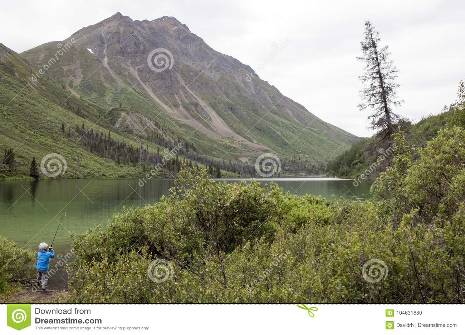 Download Jongen Die In St Elias Lake, Yukon, Canada Vissen Stock Foto - Afbeelding bestaande uit bergen, bezinning: 104631880
