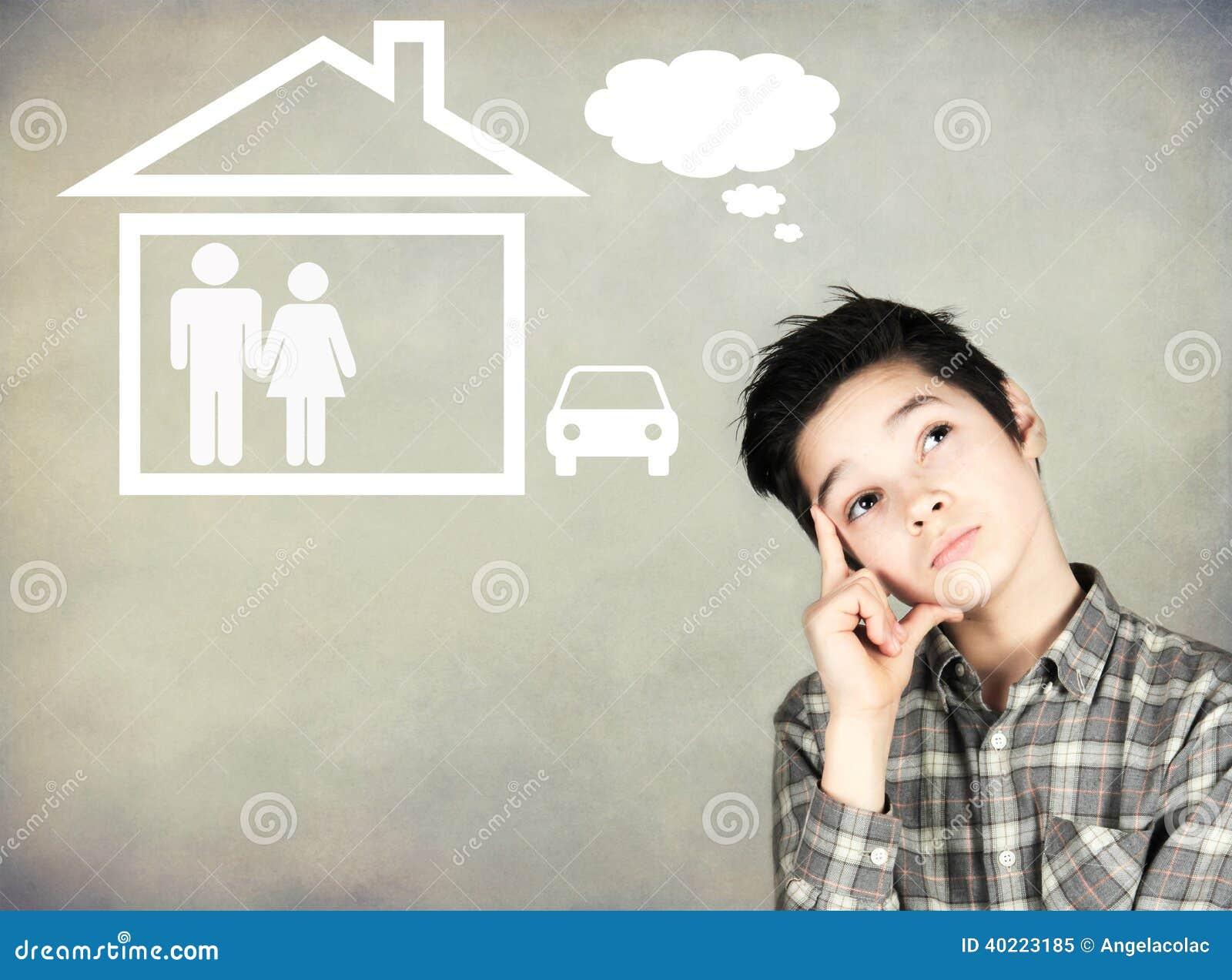 Jongen die van de toekomst dromen stock foto afbeelding 40223185 - Lay outs ruimte van de jongen ...