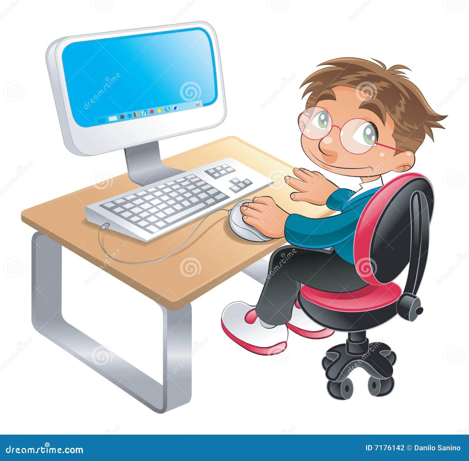 Jongen en computer