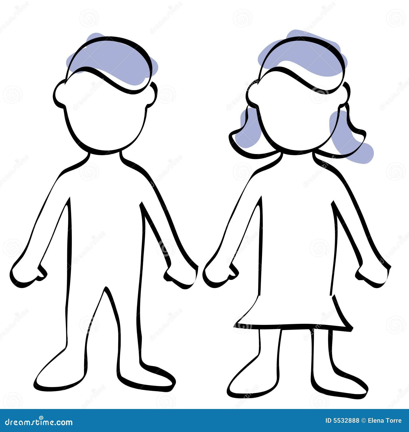 jongen en meisje stock illustratie illustratie bestaande