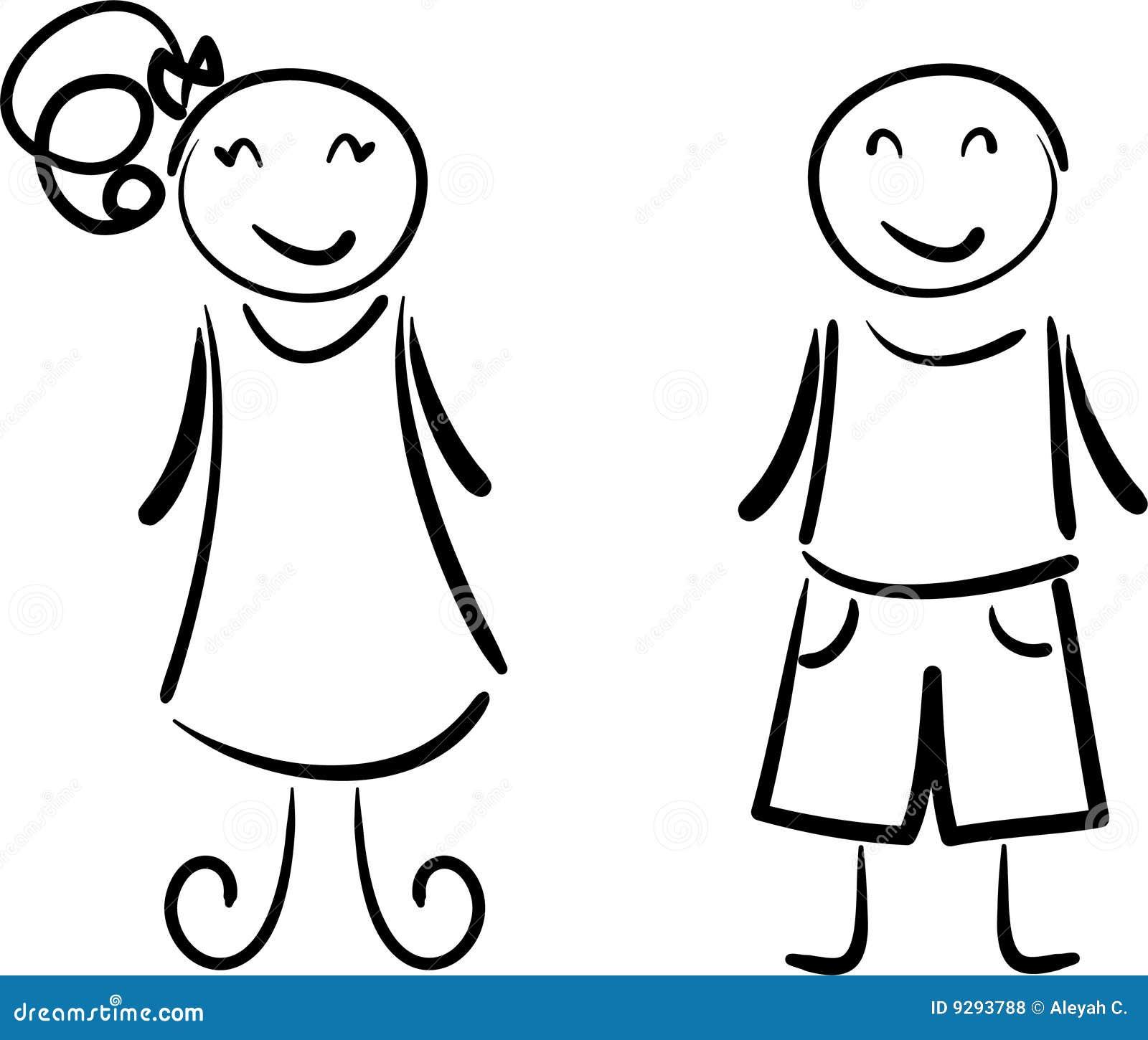 jongen en meisje vector illustratie illustratie bestaande