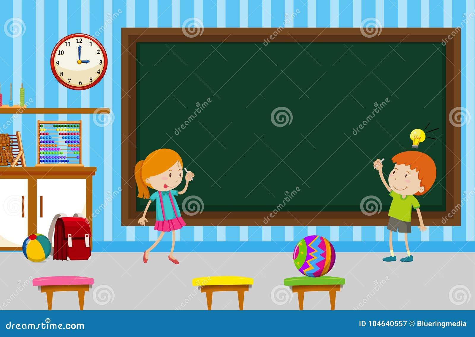 Download Jongen En Meisje Die Op Bord In Klaslokaal Schrijven Vector Illustratie - Illustratie bestaande uit kinderjaren, klasse: 104640557
