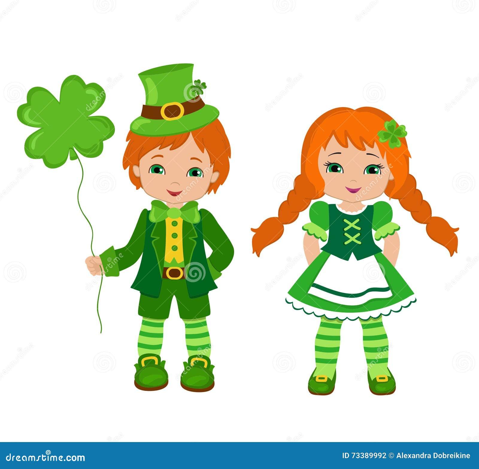 Jongen en meisje in Ierse kostuums St Patrick Dag