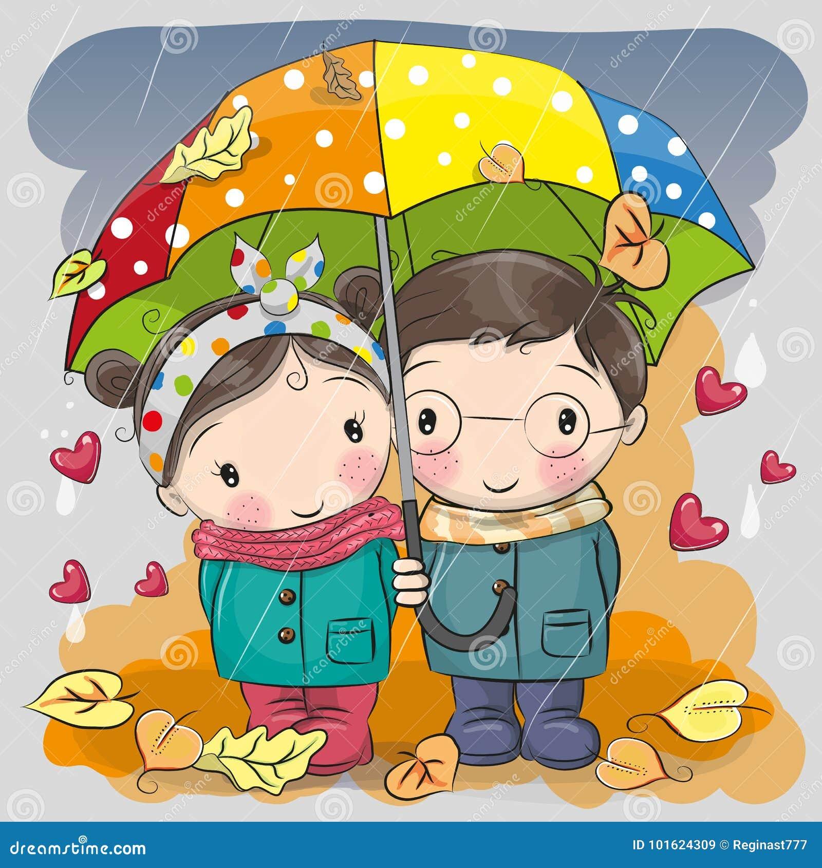 Jongen en meisje met paraplu onder de regen