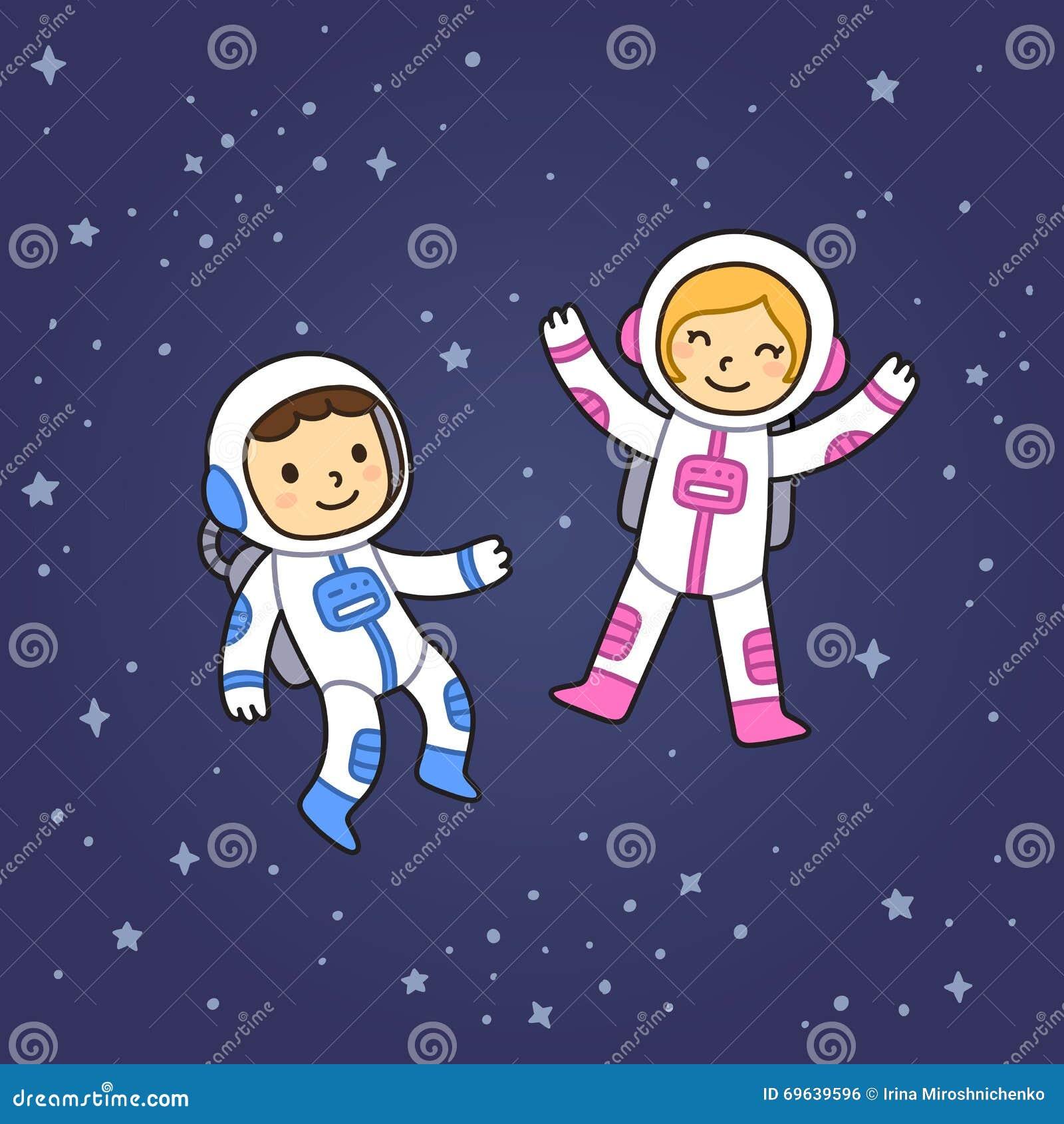 Jongen en meisje in ruimte vector illustratie afbeelding 69639596 - Ruimte jongensbaby ...