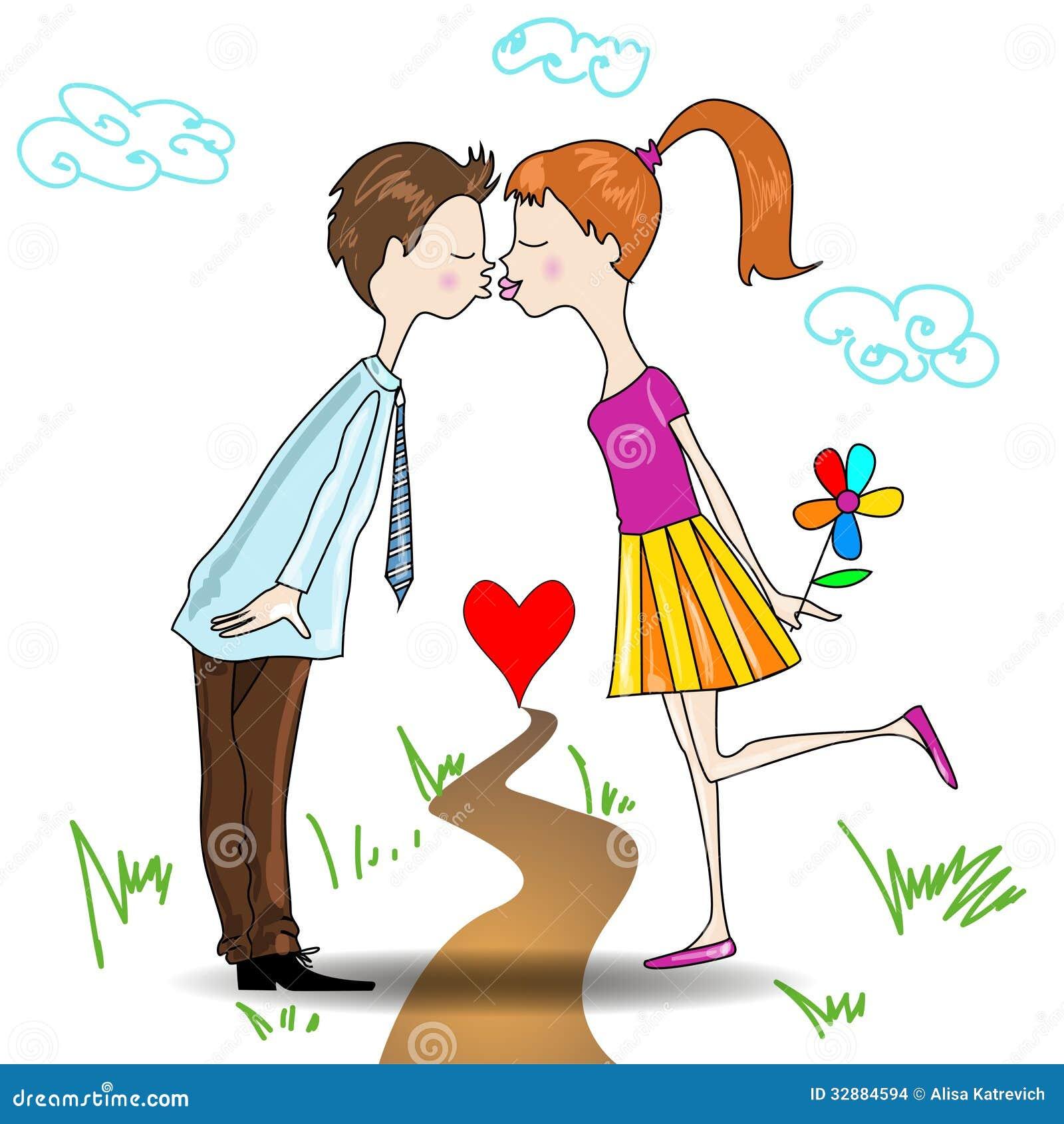 Jongen en meisjes het kussen vector illustratie afbeelding 32884594 - Set van jongens en meisjes ...