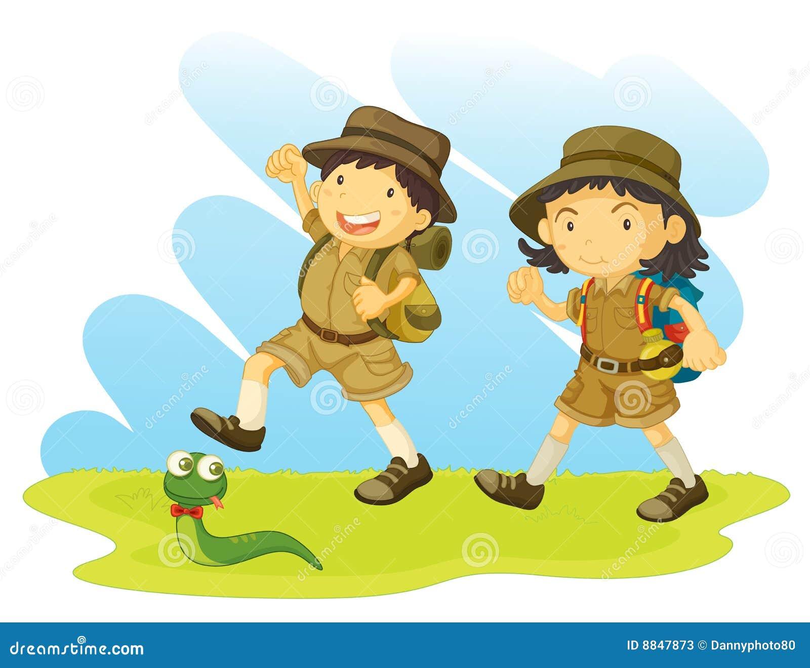 Jongen En Padvindster Vector Illustratie Afbeelding