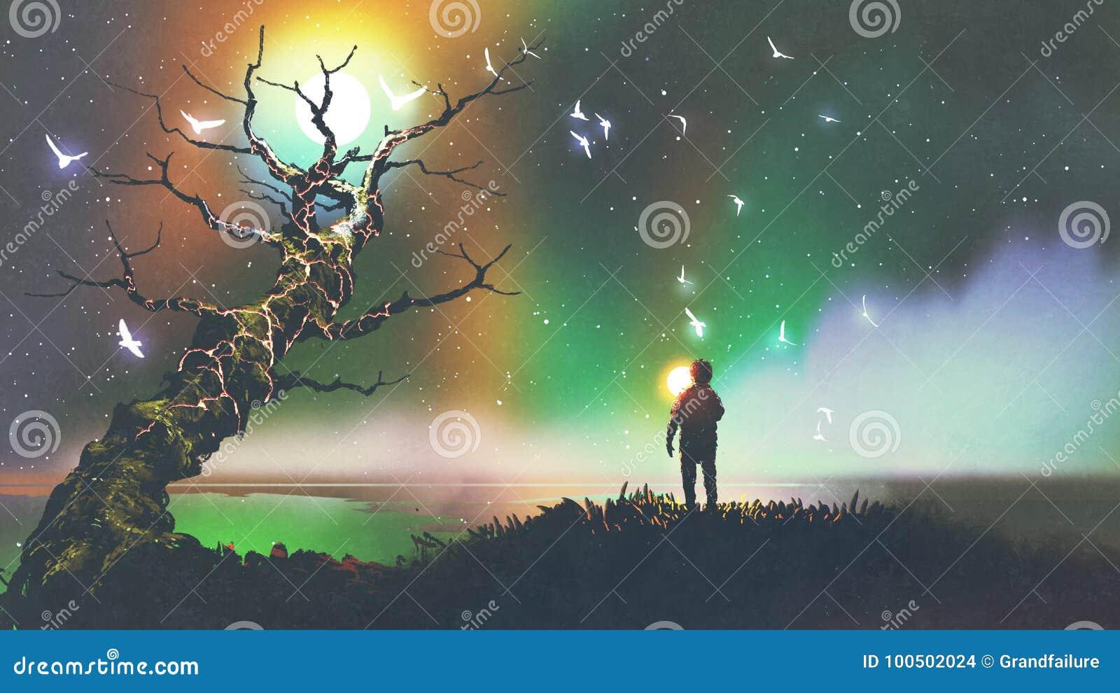 Jongen met de lichte bal die fantasieboom bekijken