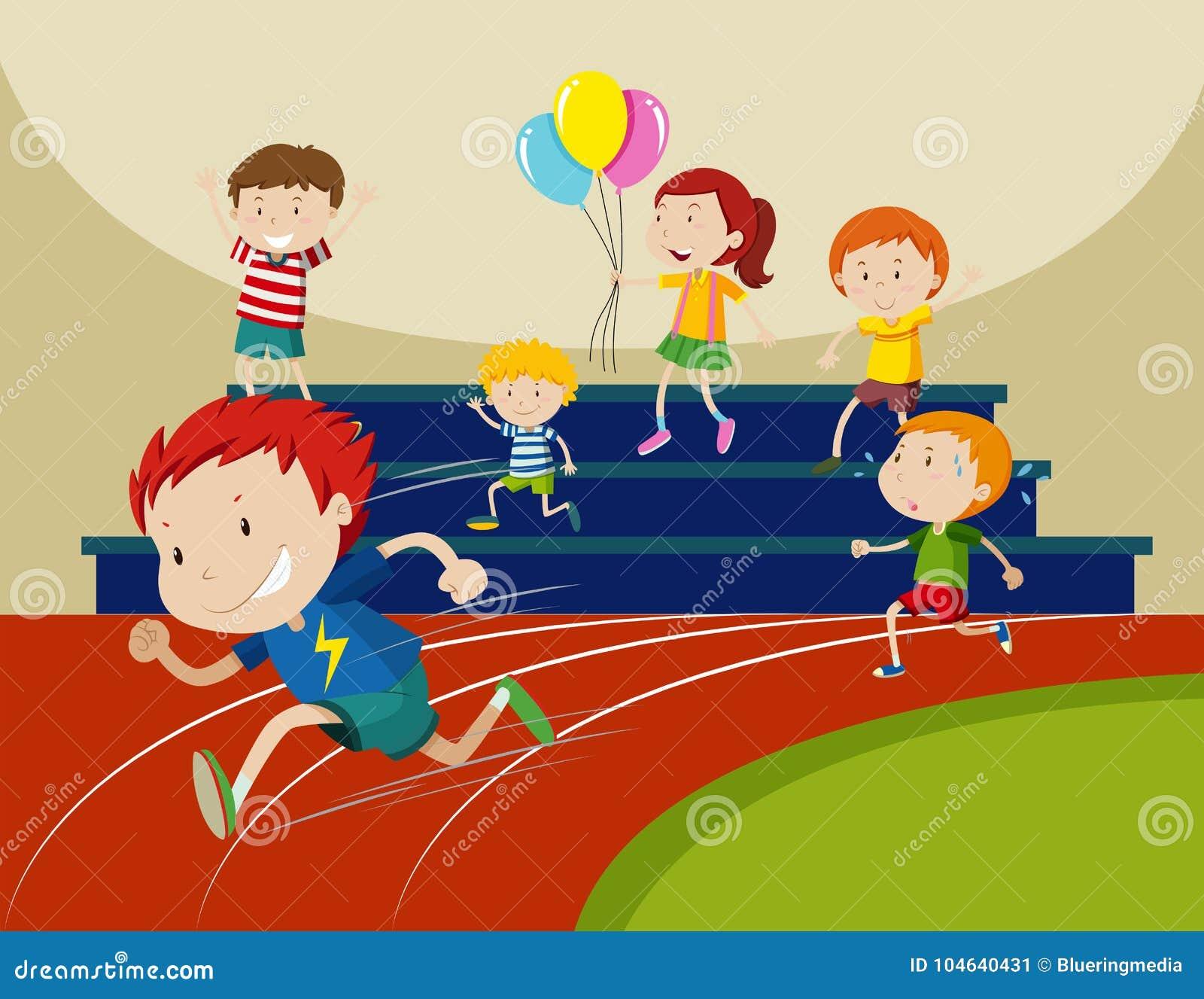 Download Jongens Die In Het Ras Lopen Vector Illustratie - Illustratie bestaande uit activiteit, illustratie: 104640431