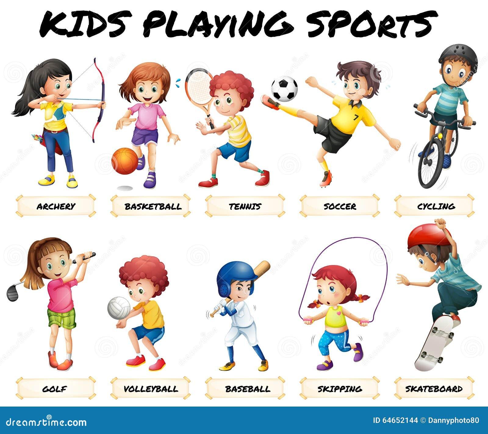 jongens en meisjes die sporten spelen vector illustratie cycling clipart cycling clipart free