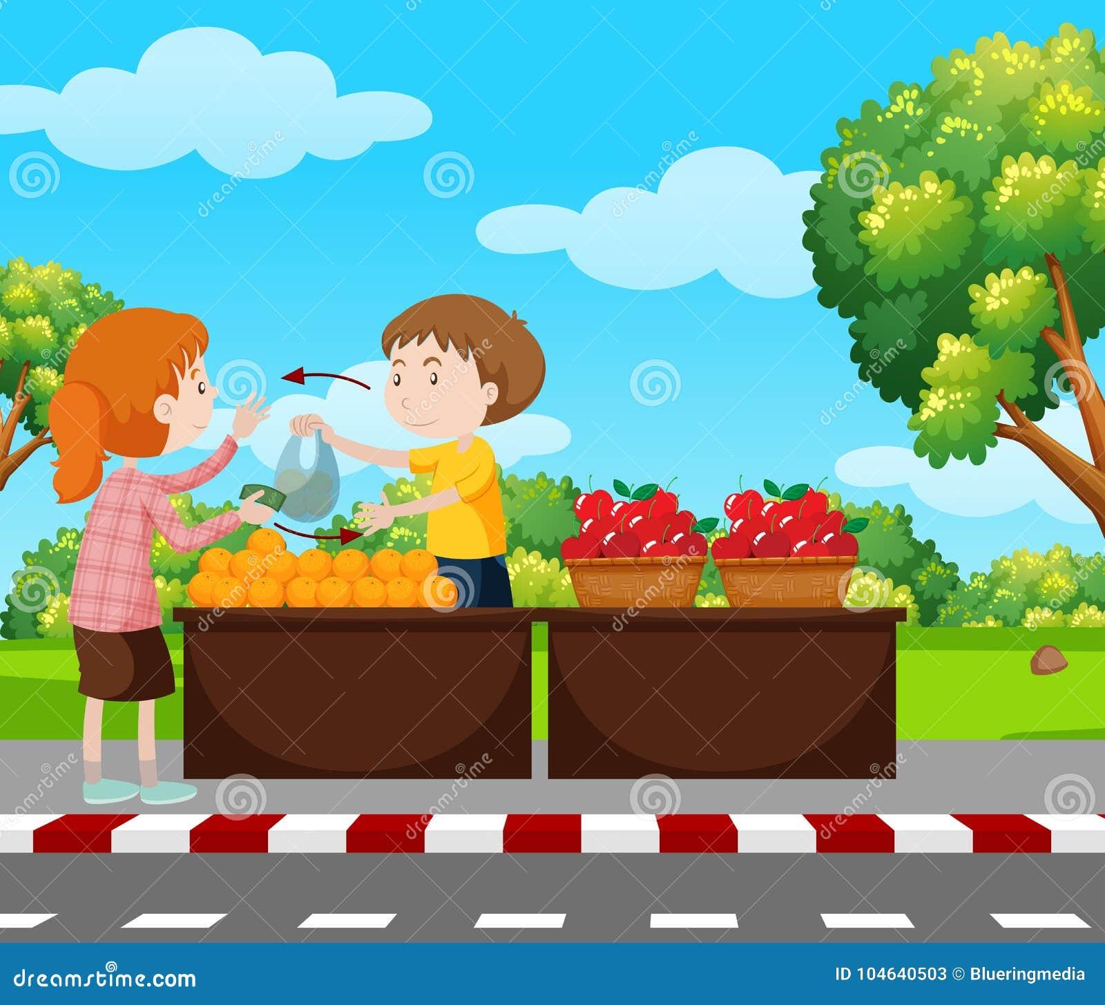 Download Jongens Verkopende Vruchten Op Bestrating Vector Illustratie - Illustratie bestaande uit student, achtergrond: 104640503