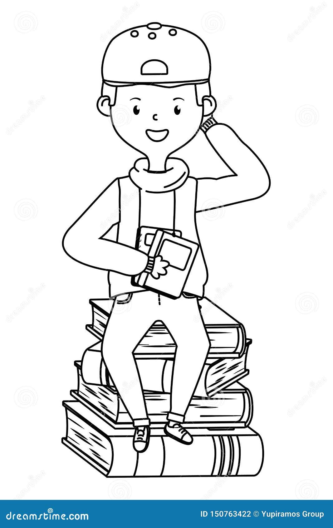 Jongensbeeldverhaal van schoolontwerp