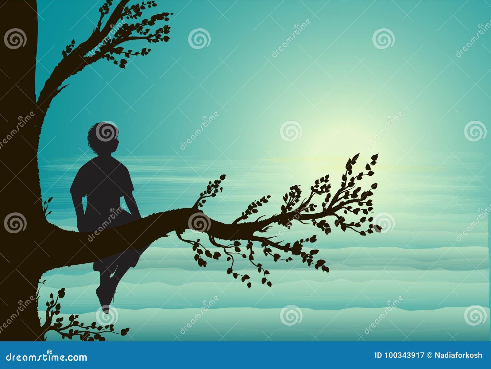 Jongenszitting op grote boomtak, silhouet, geheime plaats, kinderjarengeheugen, droom,