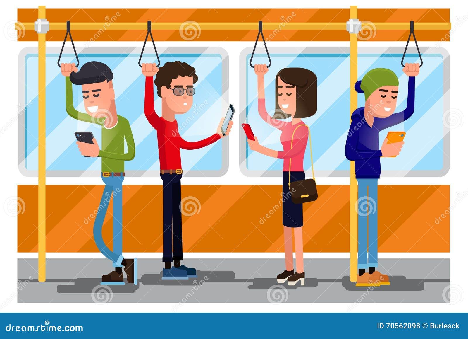 Jongeren die smartphone gebruiken die in openbaar vervoer socialiseren Vector concept background
