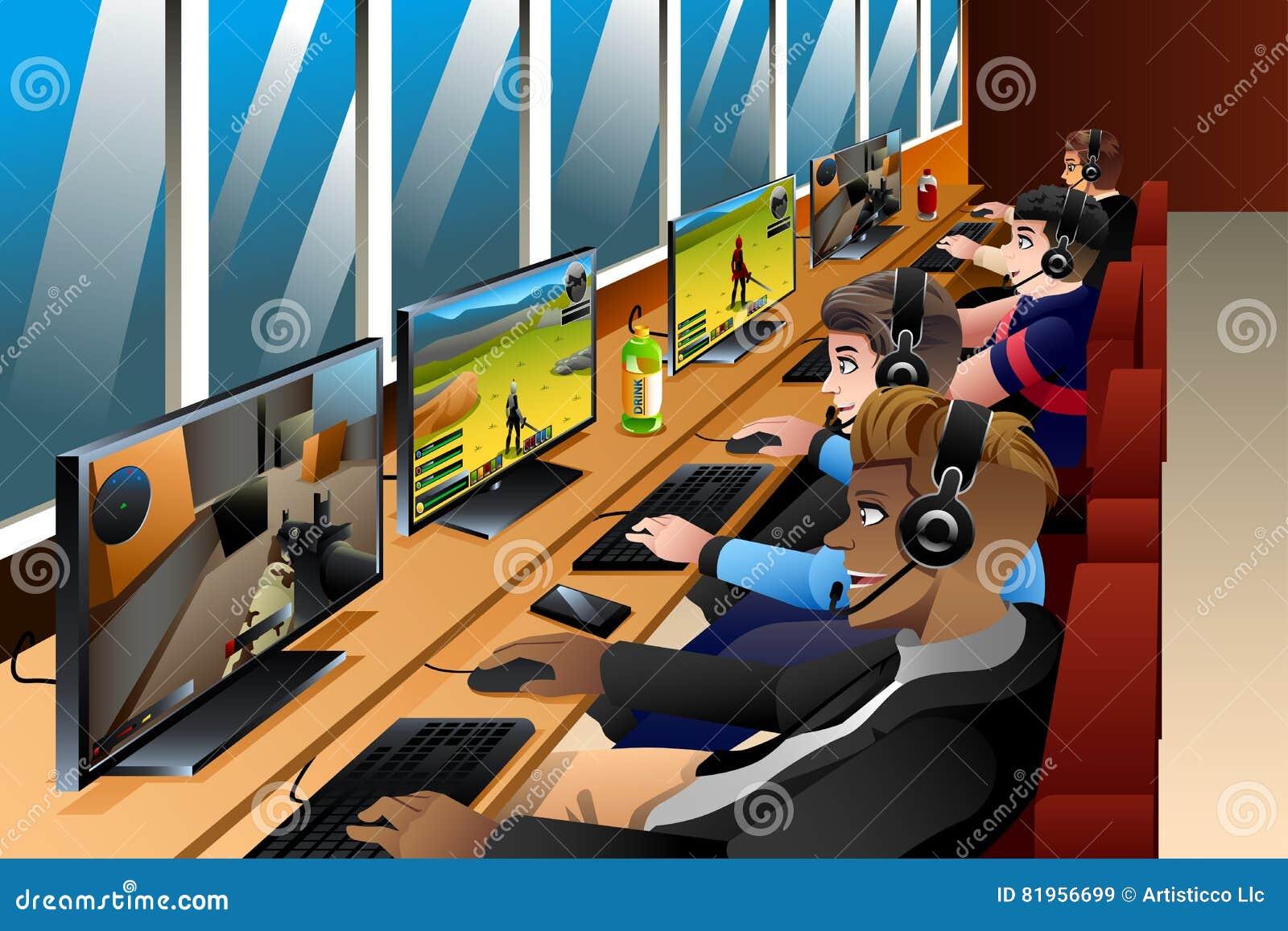 Jongeren die Spelen op een Internet-Koffie spelen