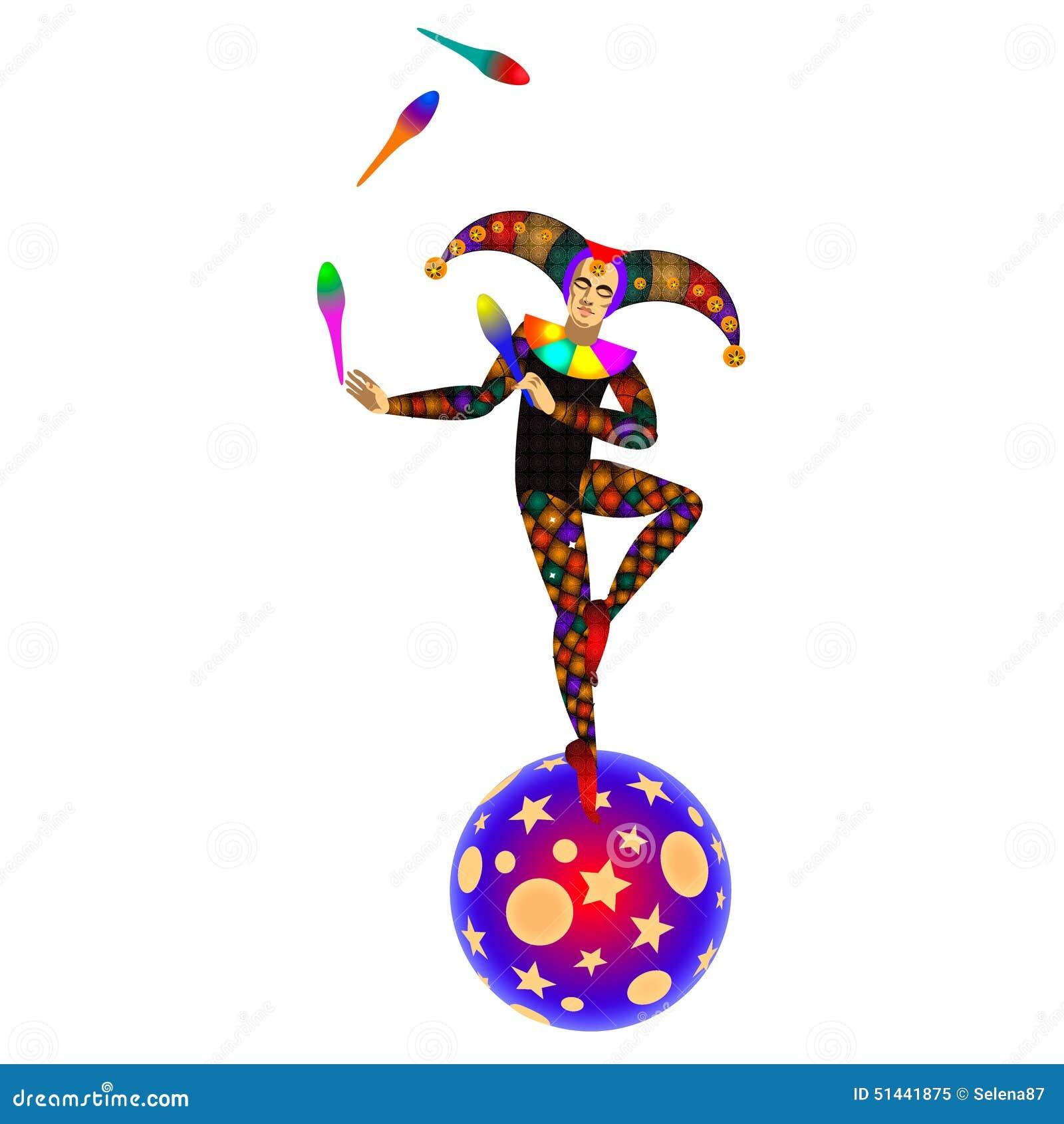 Jongleur sur la boule tour de cirque illustration de - Image jongleur cirque ...