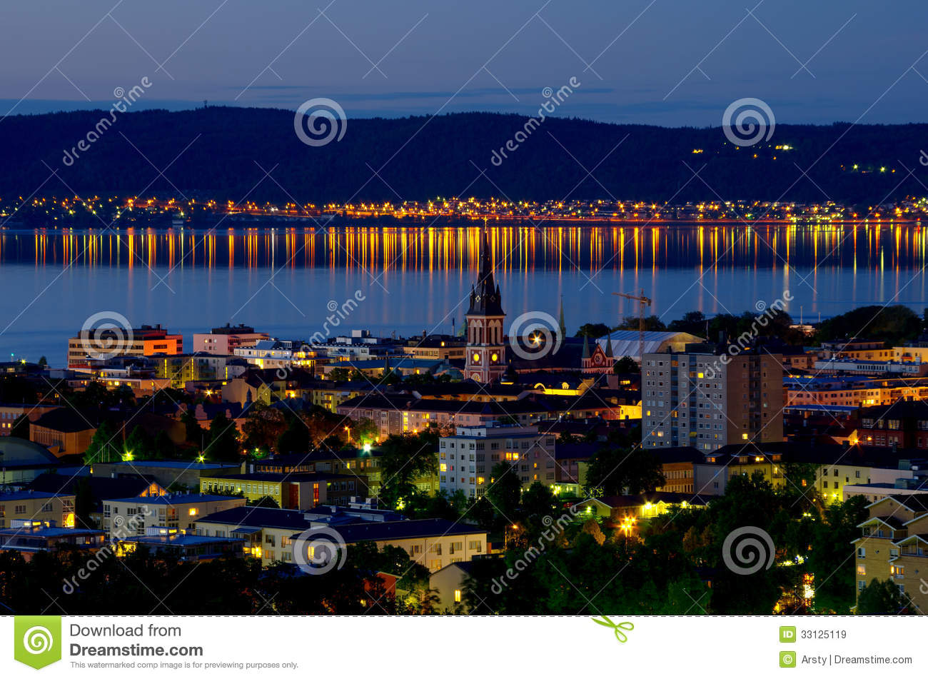 Jonkoping At Night Sweden Stock Image Image Of Lamp