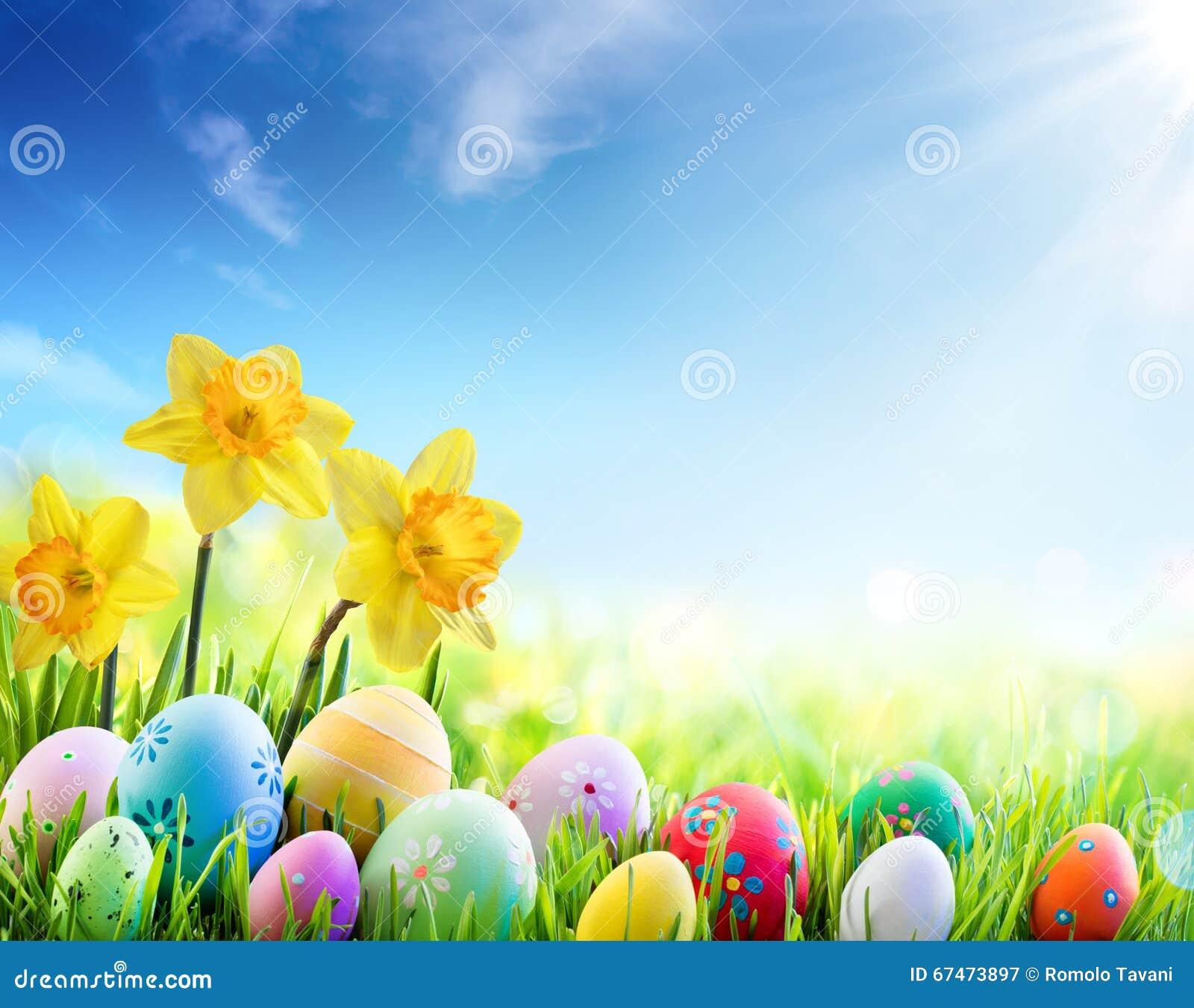 Jonquilles et oeufs décorés colorés sur Sunny Meadow - Pâques