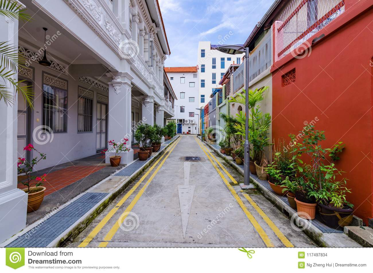Colorful `Peranakan` House At Singapore  Editorial Stock