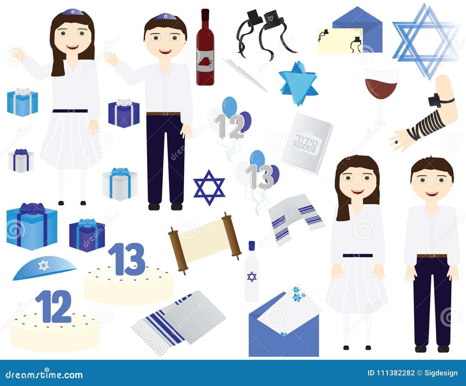 Joodse Verjaardag.Joodse Vector De Pictogrammenelementen Van De Bar