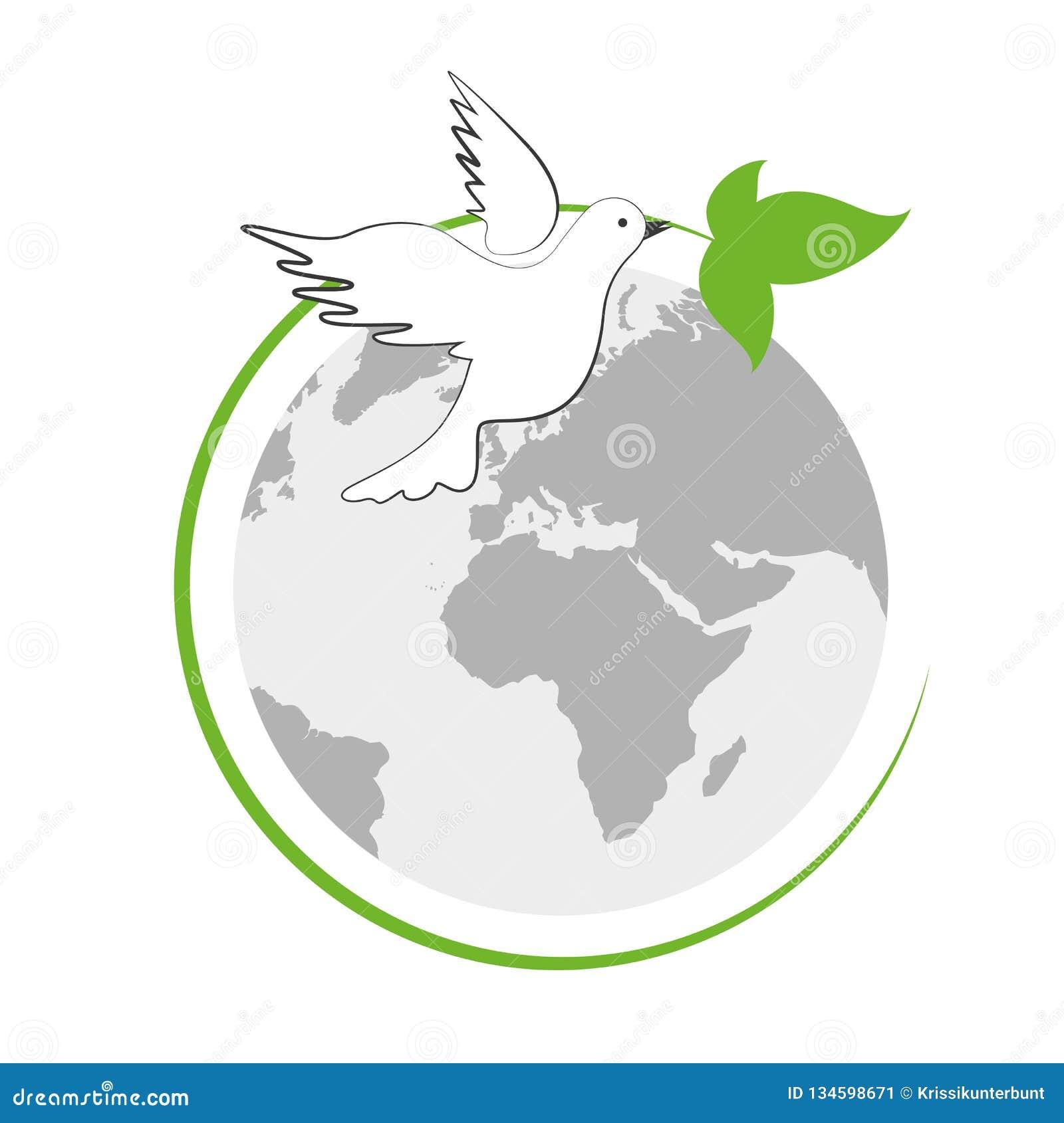 Jord och vit fredduva med det gröna bladet