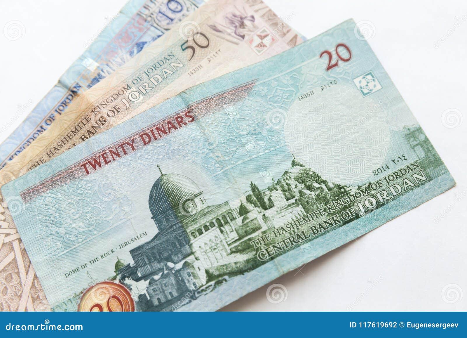 Jordańscy dinary, banknoty kłaść na bielu