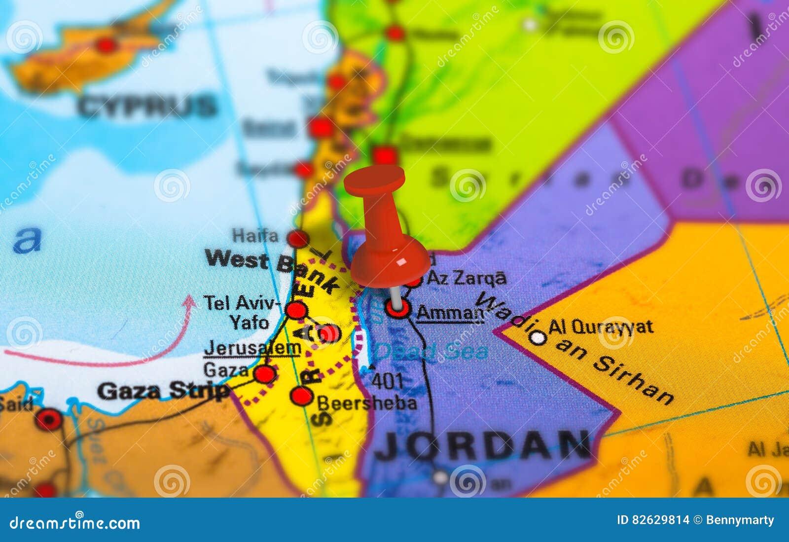 Jordanien Karte.Jordan Amman Karte Stockfoto Bild Von Nahaufnahme Grenzstein