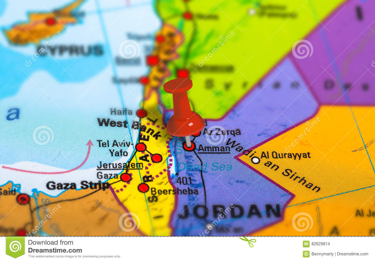 Political Map Of Jordan.Jordan Amman Map Stock Photo Image Of Closeup Landmark 82629814