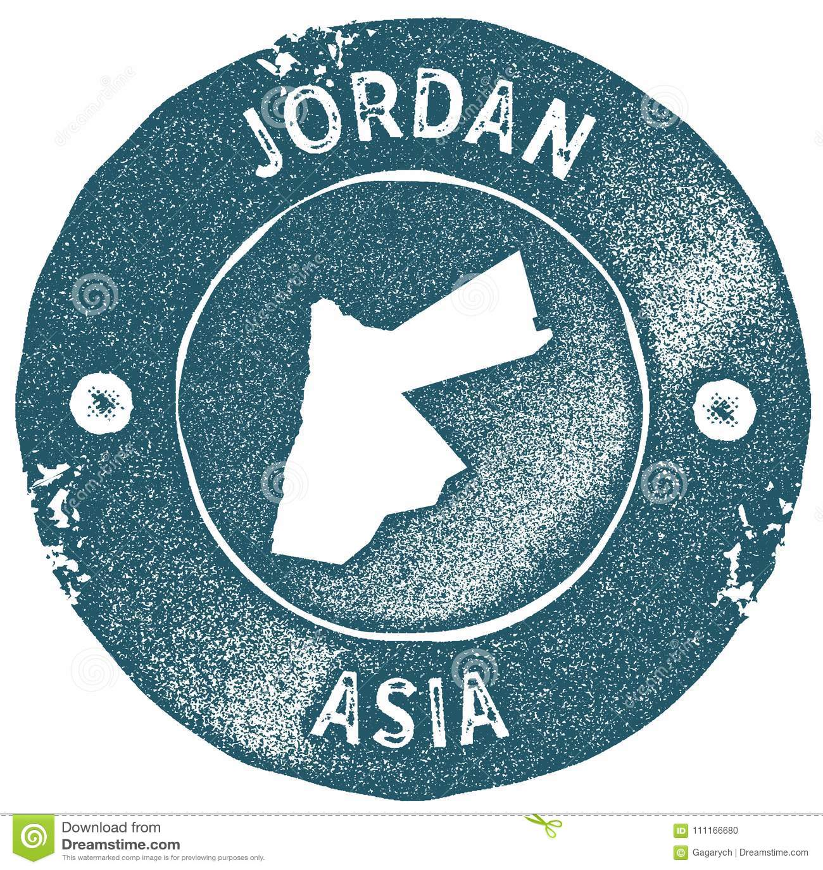 Jordan Map Vintage Stamp Stock Vector Illustration Of Hashemite