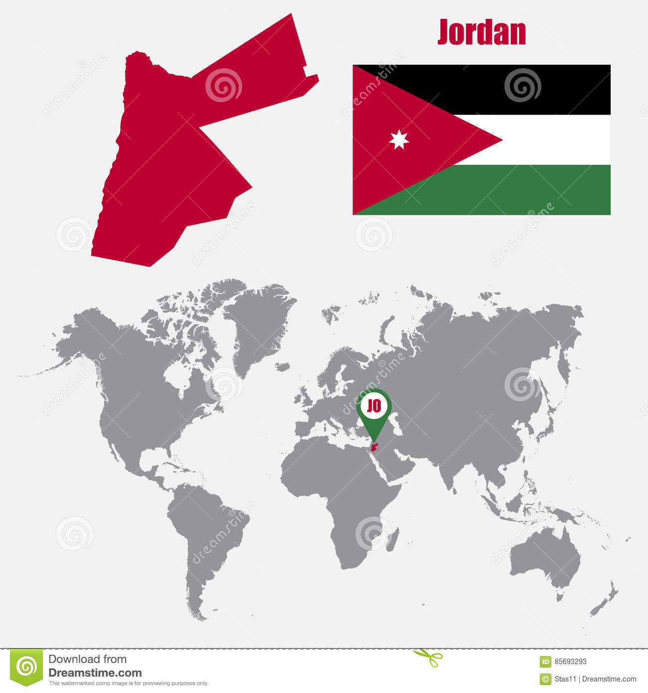 Jordan map on a world map with flag and map pointer vector download comp gumiabroncs Choice Image