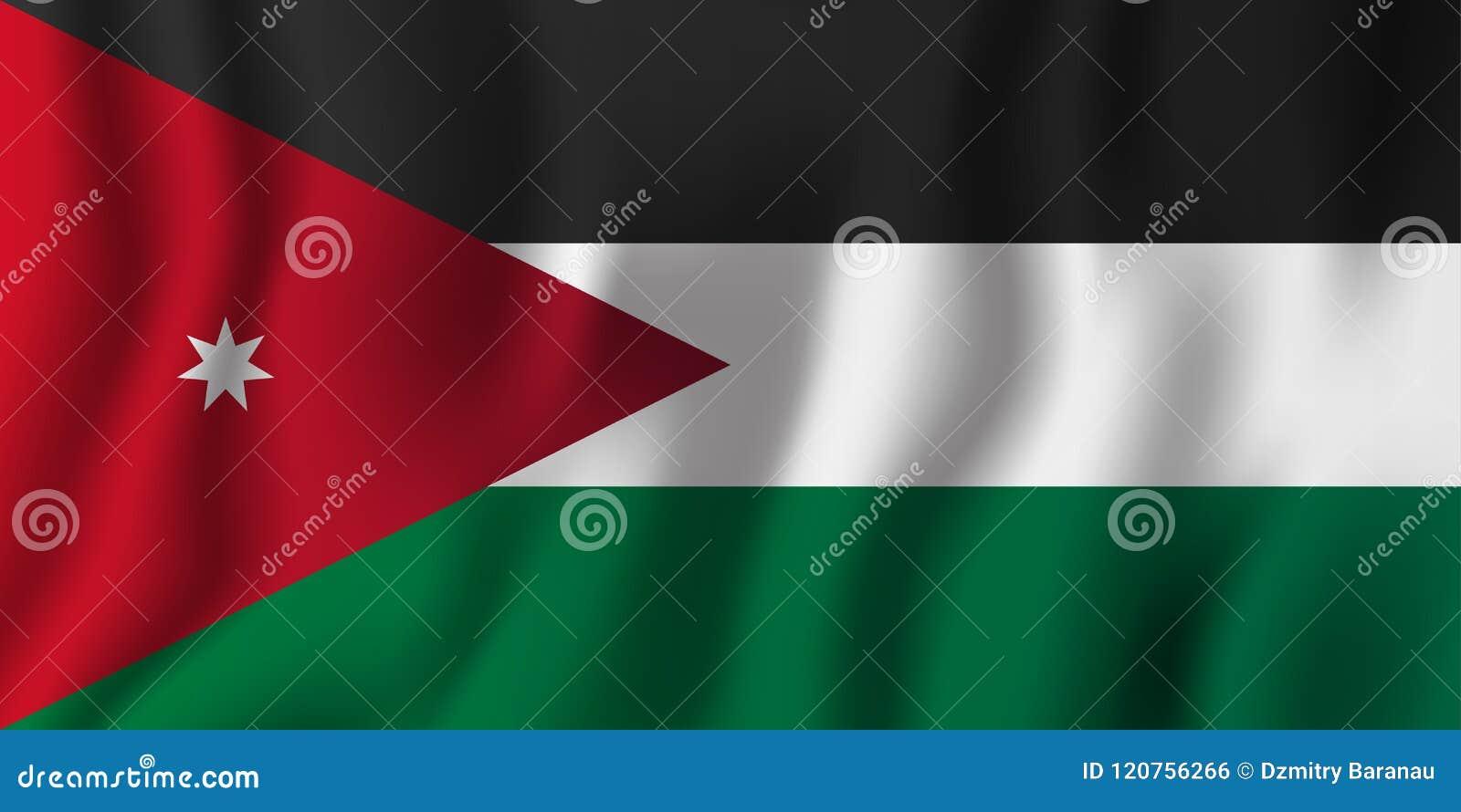 Jordan Realistic Waving Flag Vector Illustration National Country