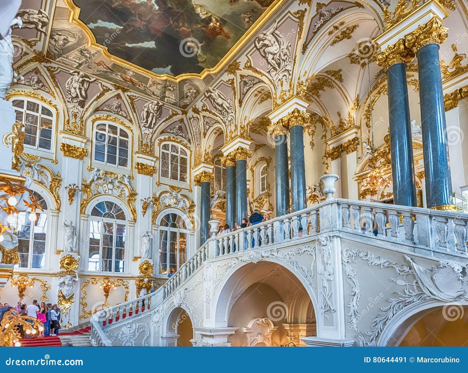 Jordan Staircase del palacio del invierno, museo de ermita, animal doméstico del St