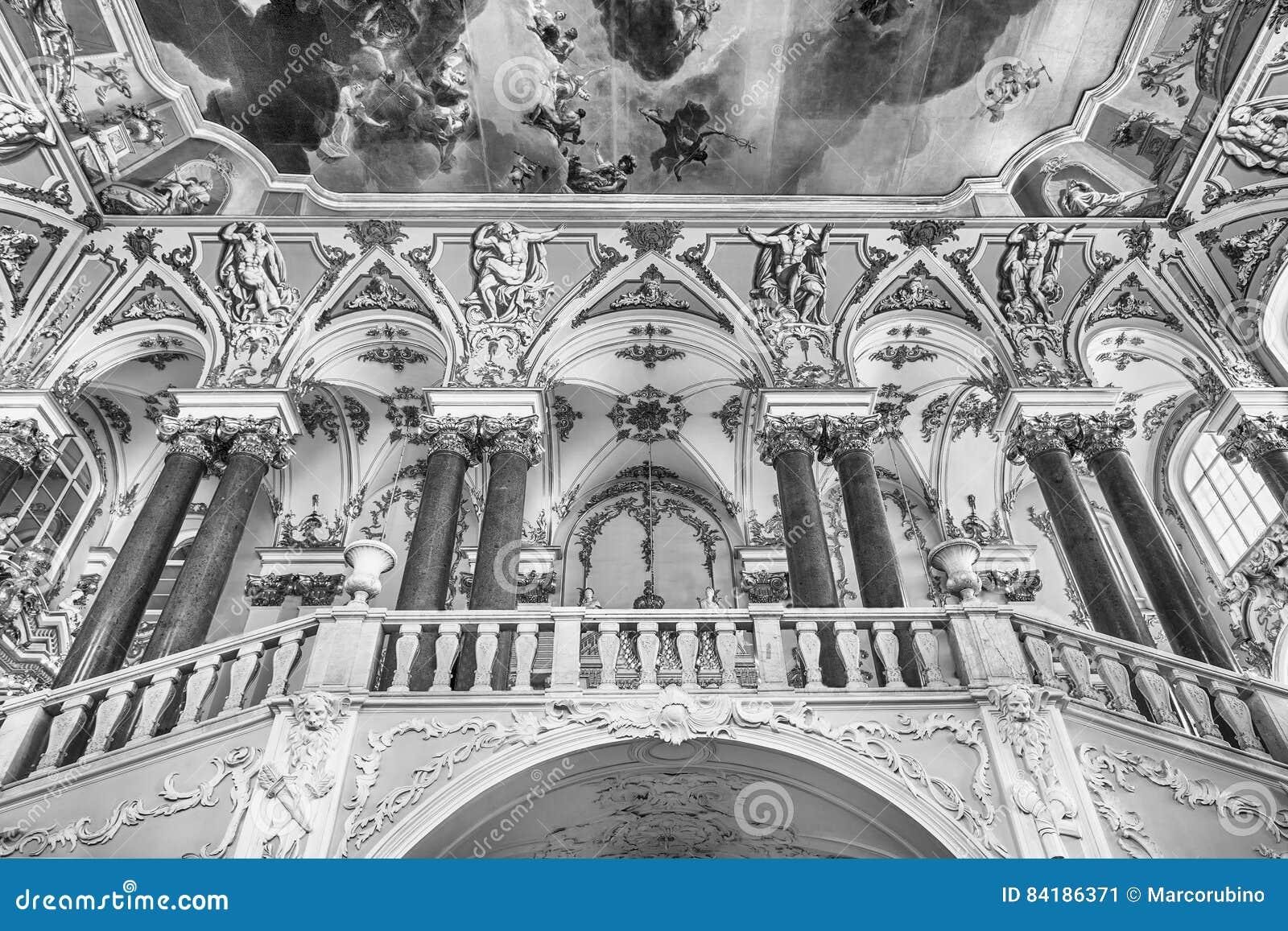 Jordan Staircase do palácio do inverno, museu de eremitério, animal de estimação do St