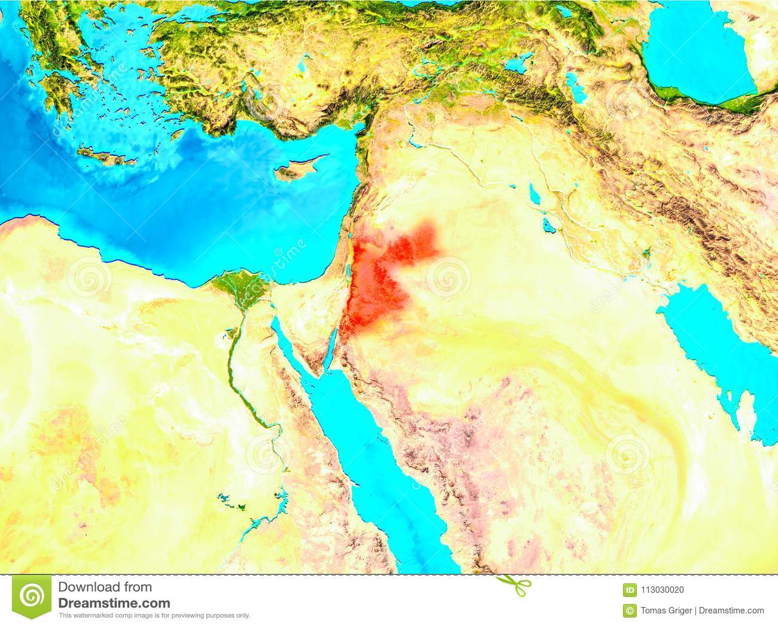 Jordania en rojo en la tierra