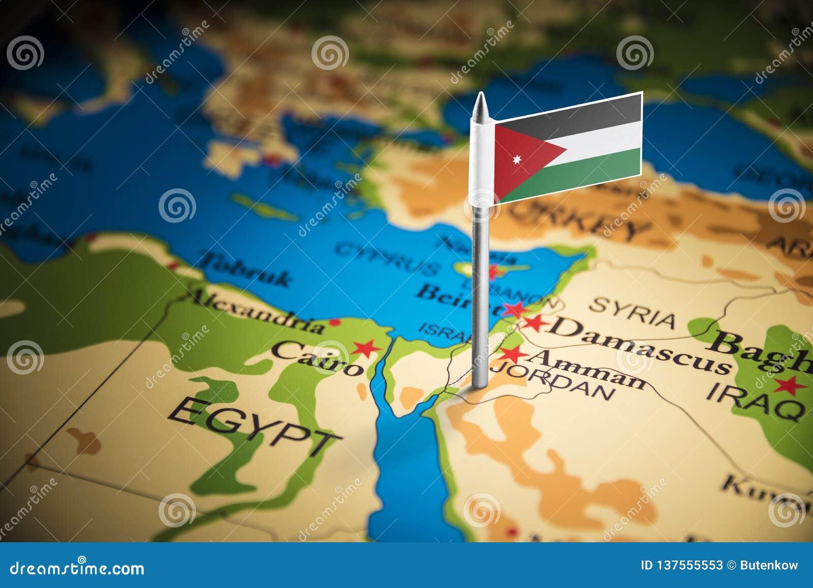 Jordanien markerade med en flagga på översikten