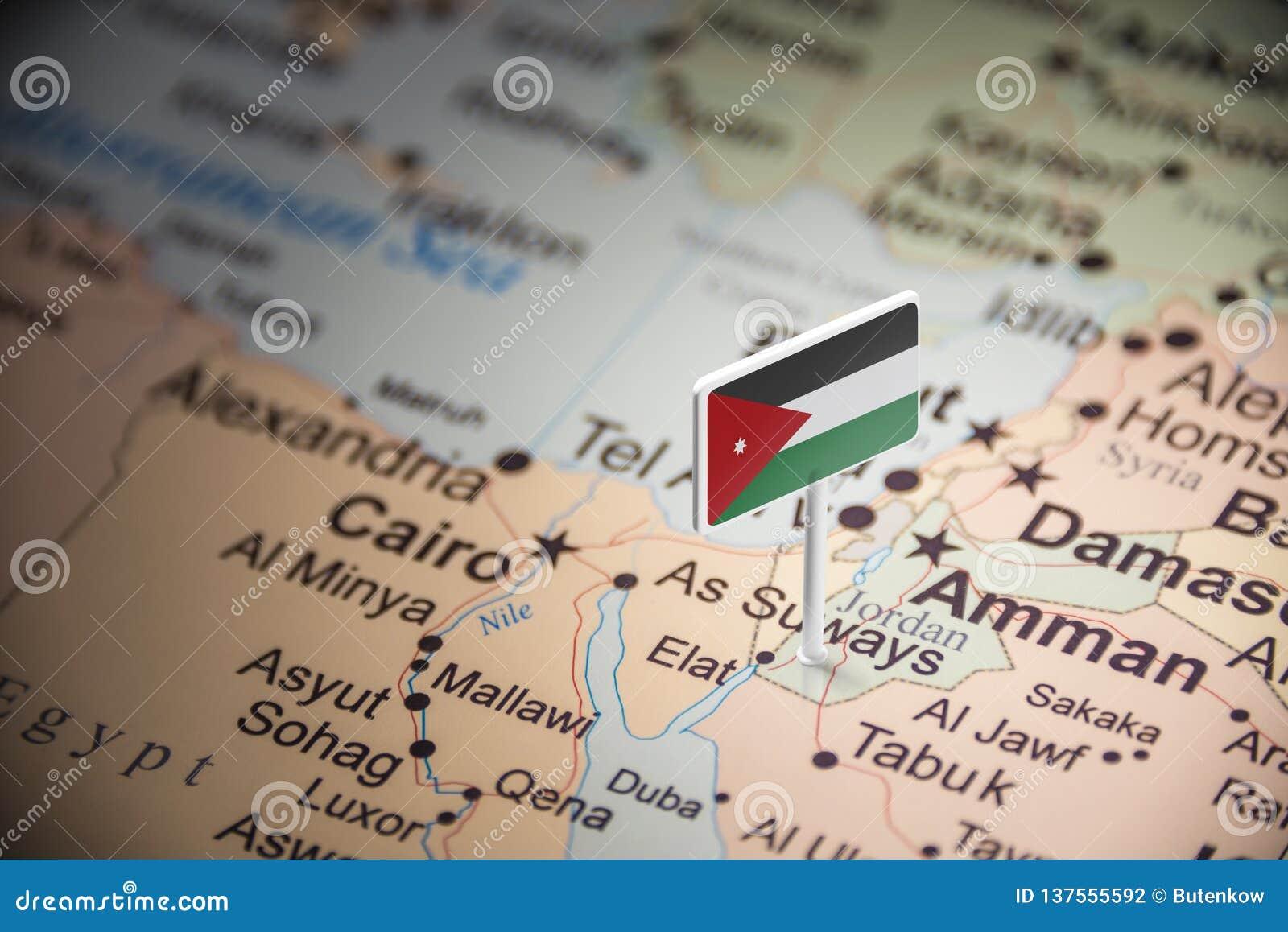 Jordanien markierte mit einer Flagge auf der Karte