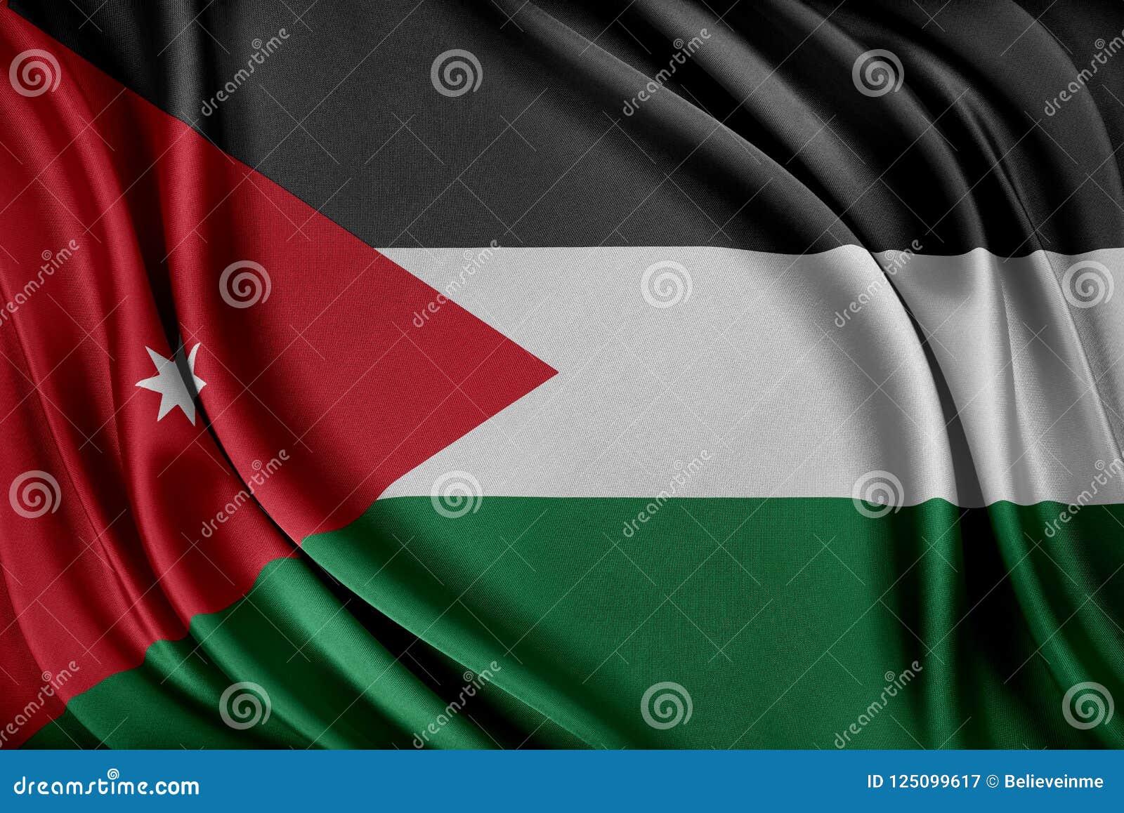 Jordanien sjunker Flagga med en glansig siden- textur