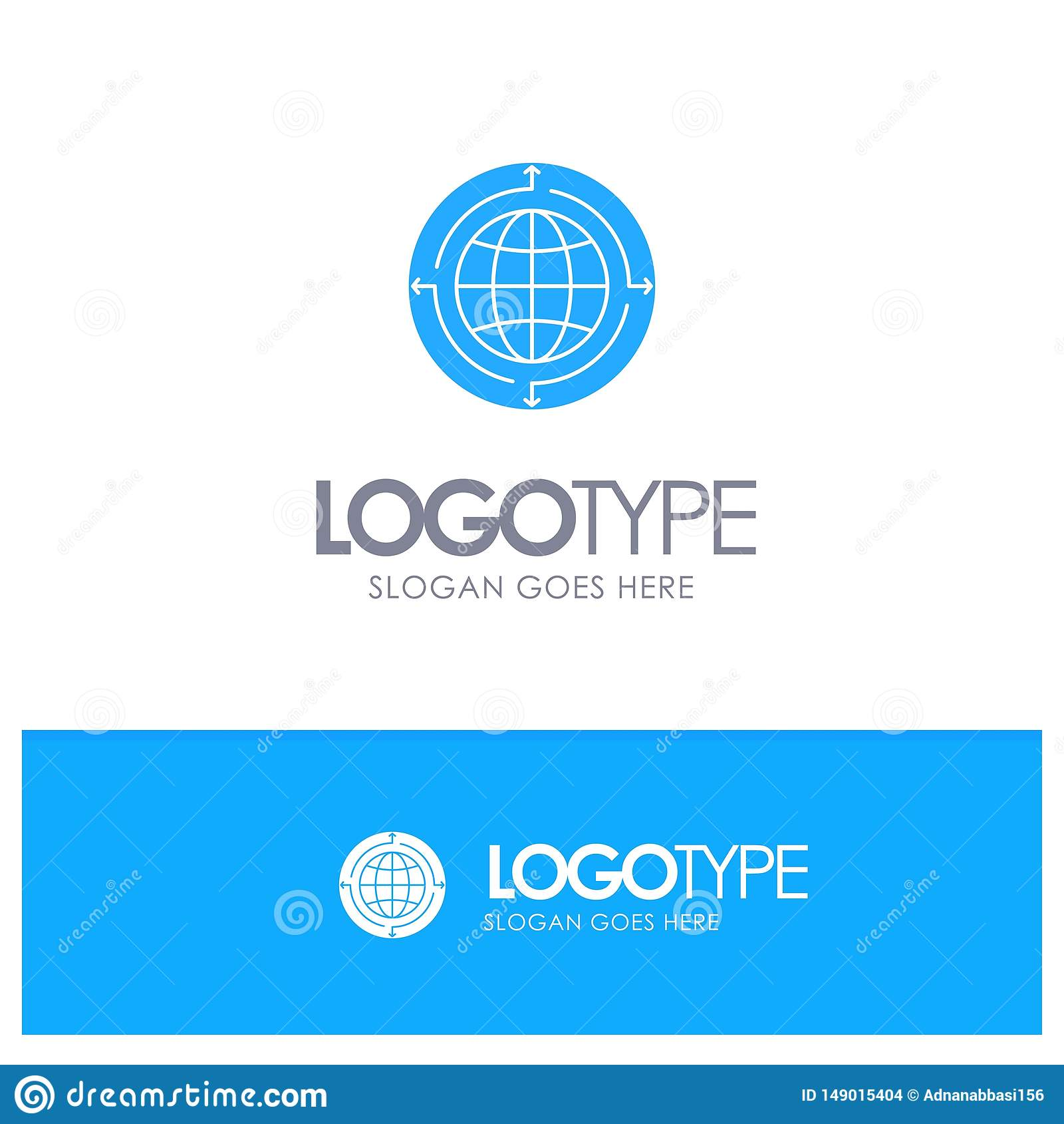 Jordklot affär, kommunikation, anslutning som är global, blå fast logo för värld med stället för tagline