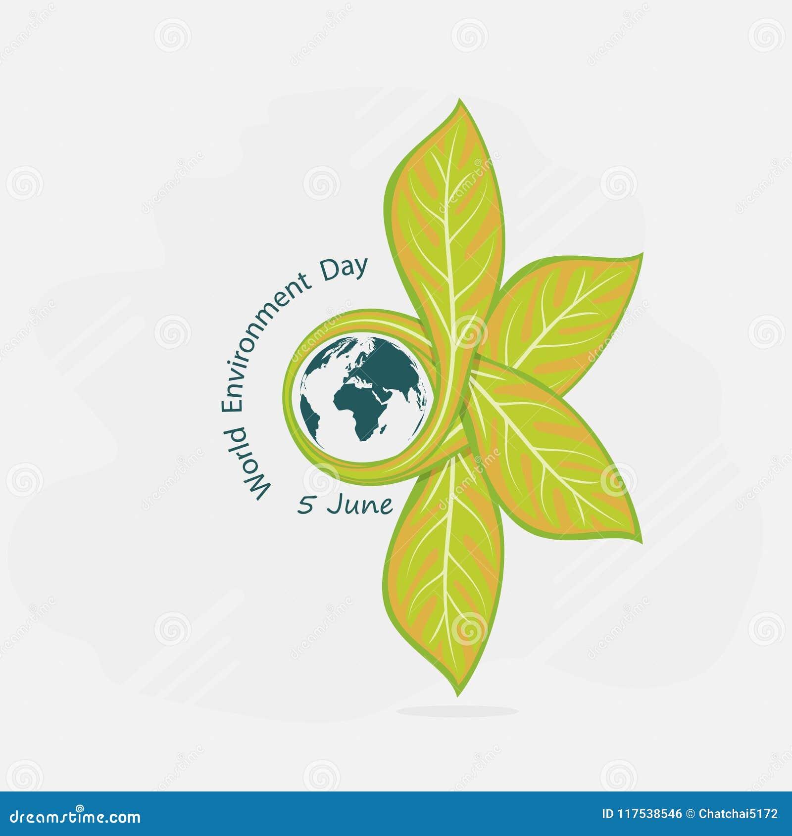 Jordklot- och bladtecken Logo D för vektor för begrepp för dag för världsmiljö