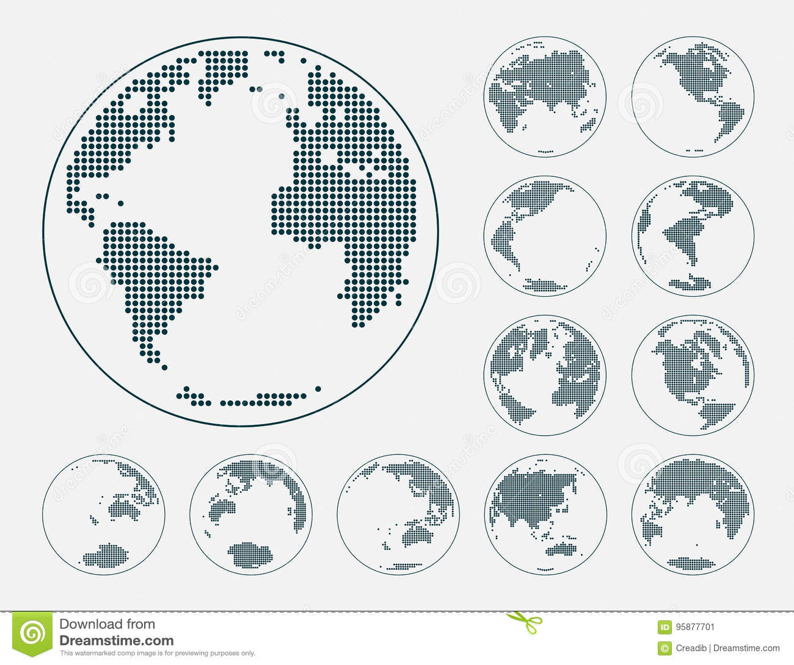 Jordklot som visar jord med alla kontinenter Prickig världsjordklotvektor