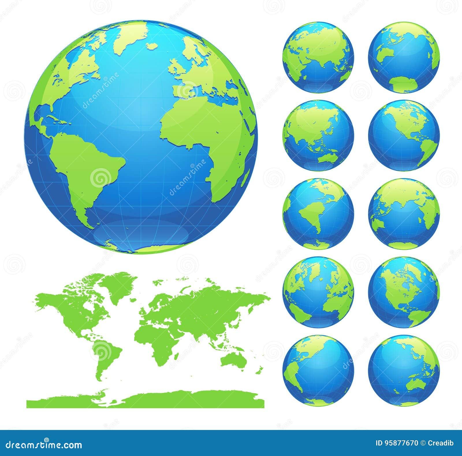 Jordklot som visar jord med alla kontinenter Vektor för Digital världsjordklot Prickig världskartavektor