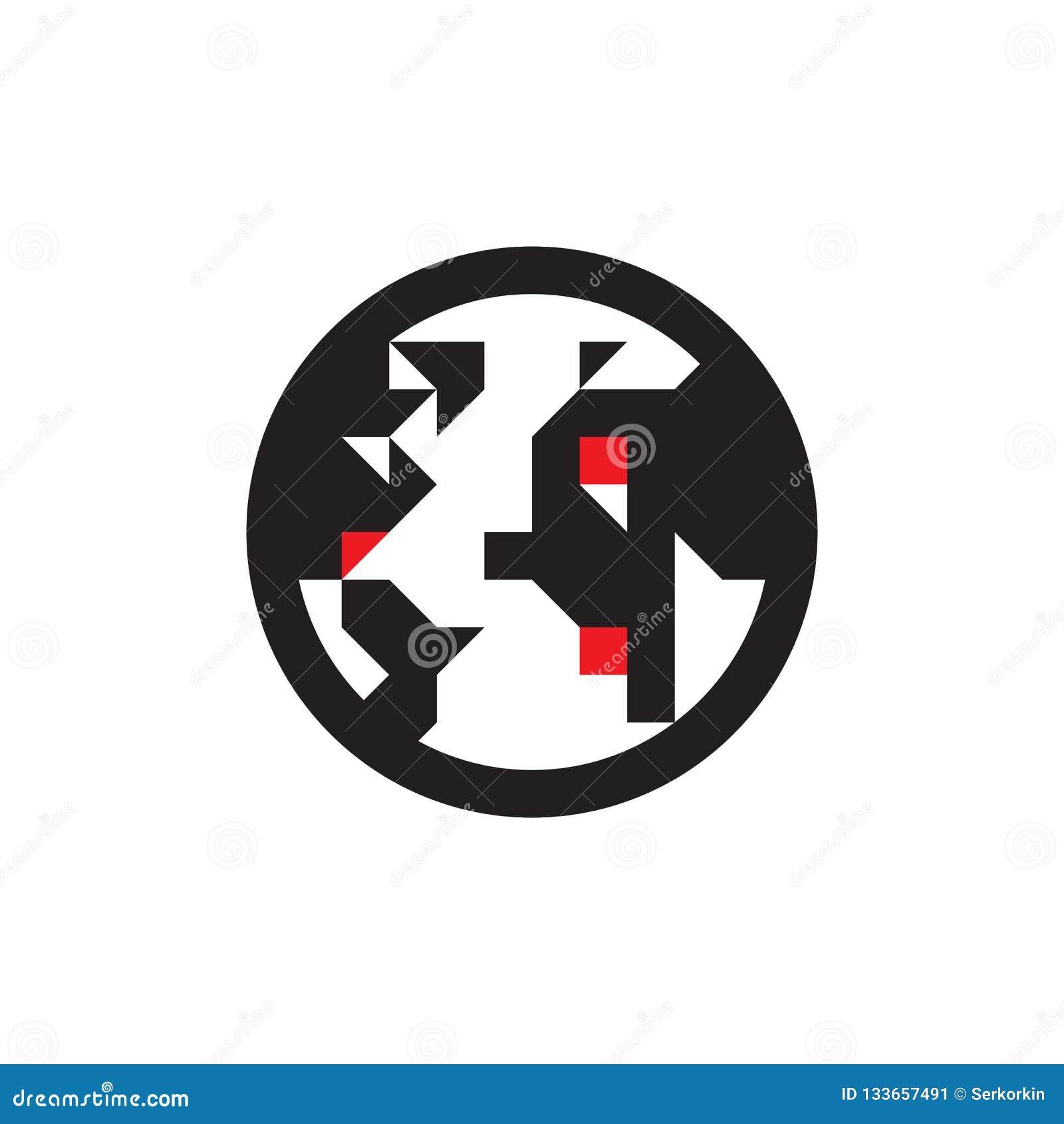 Jordklot - svart symbol på den vita bakgrundsvektorillustrationen Tecken för jordplanetbegrepp Abstrakt världssymbol planlägg dia
