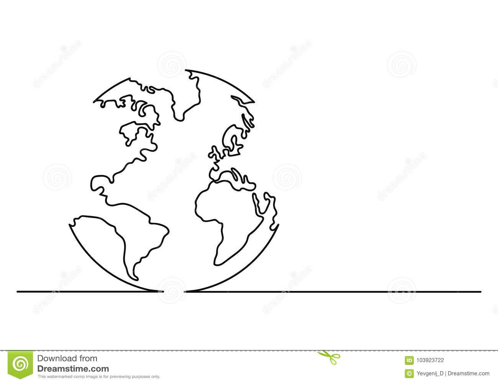 Jordklotsymbol i linjen konststil Planetjordsymbol Fortlöpande linje teckning Singel obruten linje teckningsstil