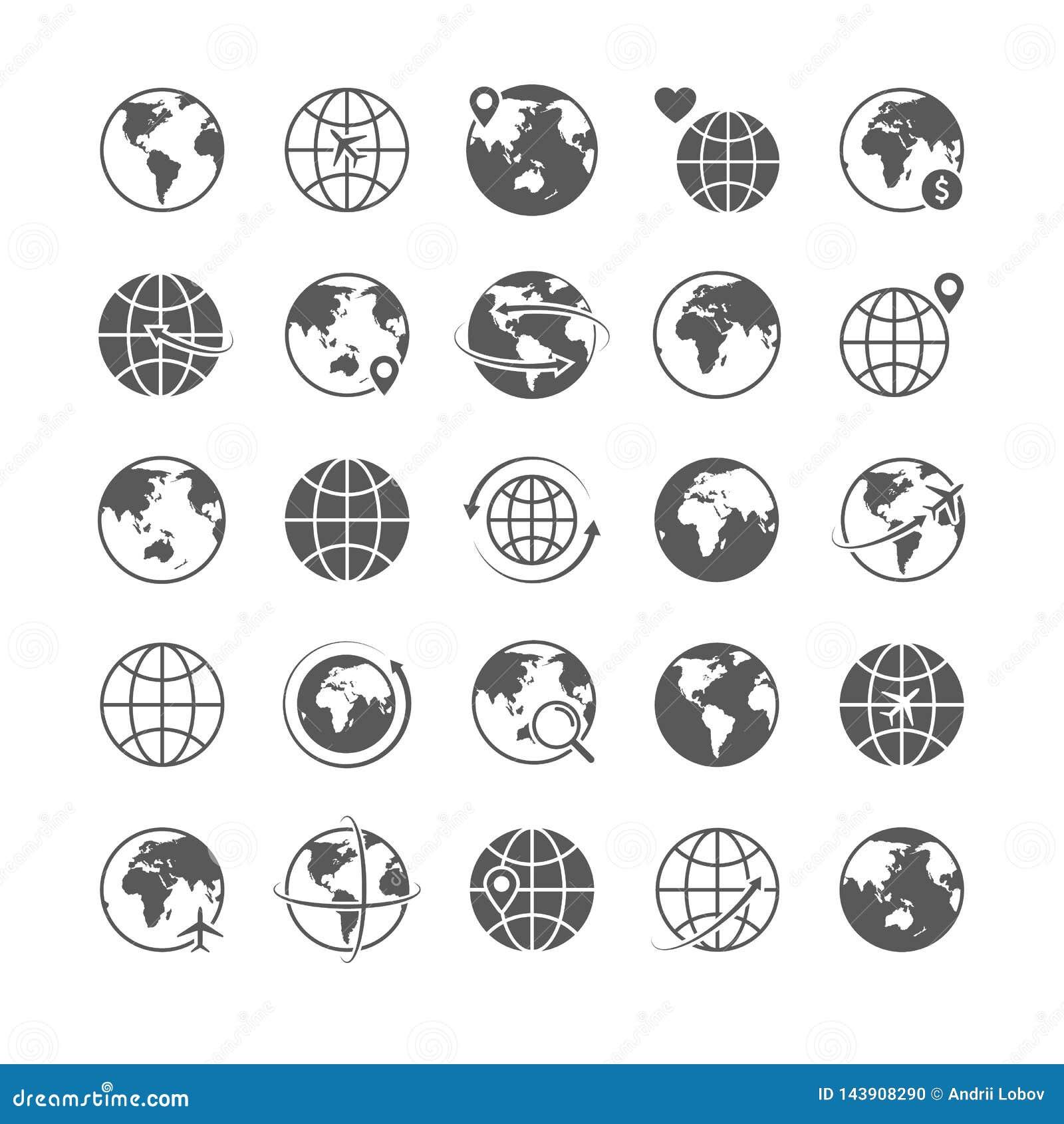 Jordklotsymboler ställde in linjen symbolsturismvektor för marknadsföringen för komrets för internet för symboler för konturn för