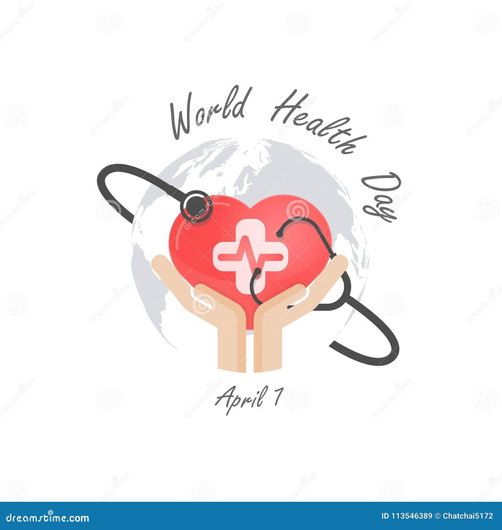 Jordklottecknet, den mänskliga handen och stetoskopsymbolen med hjärta formar vect