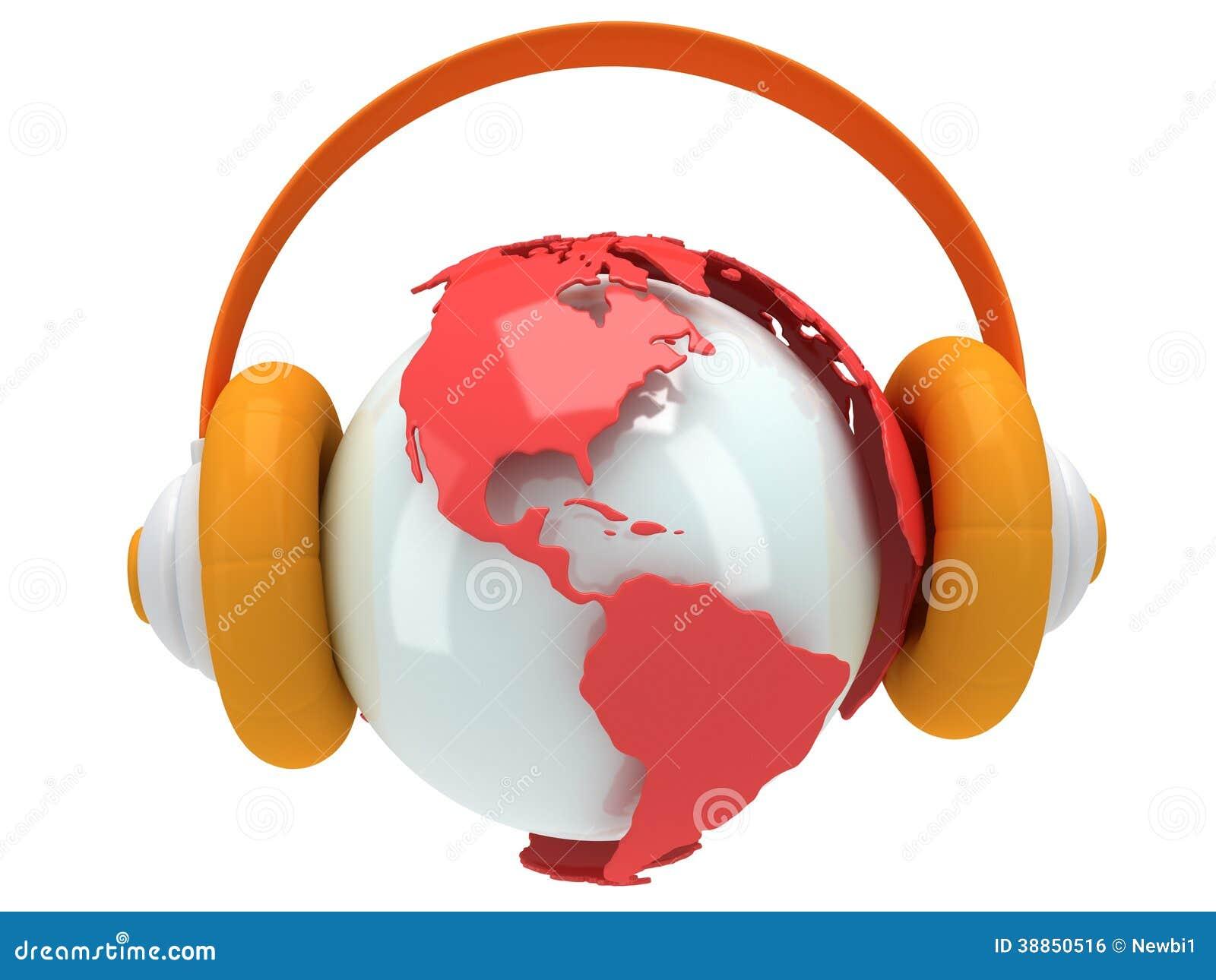Jordplanetjordklot med headphonen. 3D framför.