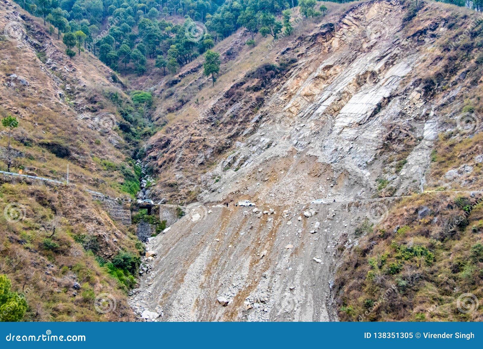 Jordskred och rockfalls på vägen i bergen