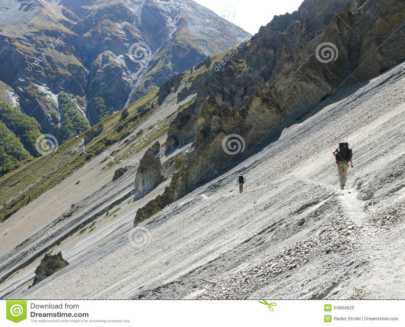 Jordskredområde som eroderas vaggar - vägen till den Tilicho basläger, Nepal