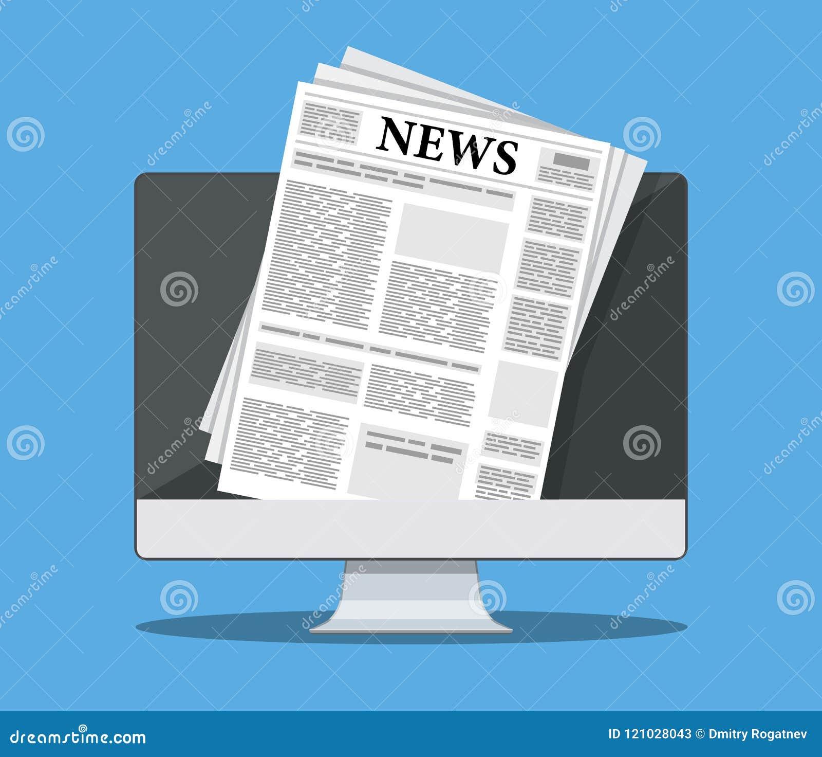 Jornal no tela de computador